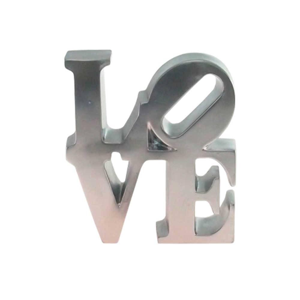 Palavra Love NY Decorativa Prata em Resina - 16x15 cm
