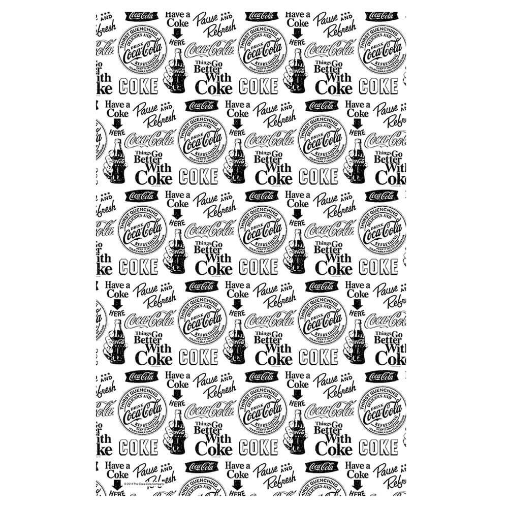 Pano de Copa Coca-Cola All Logos Preto e Branco em Algodão - Urban - 70x45 cm