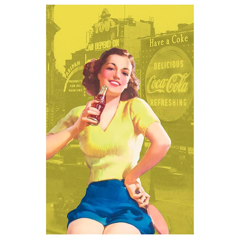 Pano de Copa Coca-Cola Pin Up Brown Lady Amarelo em Algodão - Urban - 70x45 cm