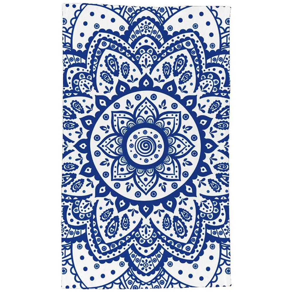 Pano de Copa Indigo Henna Flower Azul em Algodão - Urban - 70x45 cm