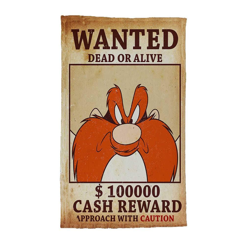 Pano de Prato Looney Tunes Yosemite Wanted Fundo Bege em Algodão - 70x45 cm
