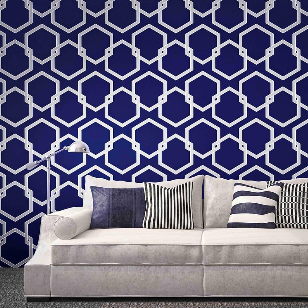Papel de Parede Autocolante SA006 Estampa Colmeia/Hexagonal Azul - 420x53 cm