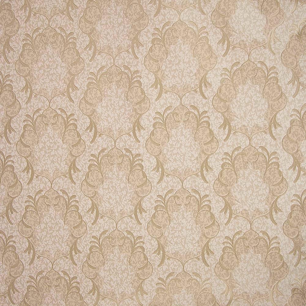 Papel de Parede Importado Vinílico Lavável Bege c/ Textura de Arabescos em Dourado - 10x0,53 m