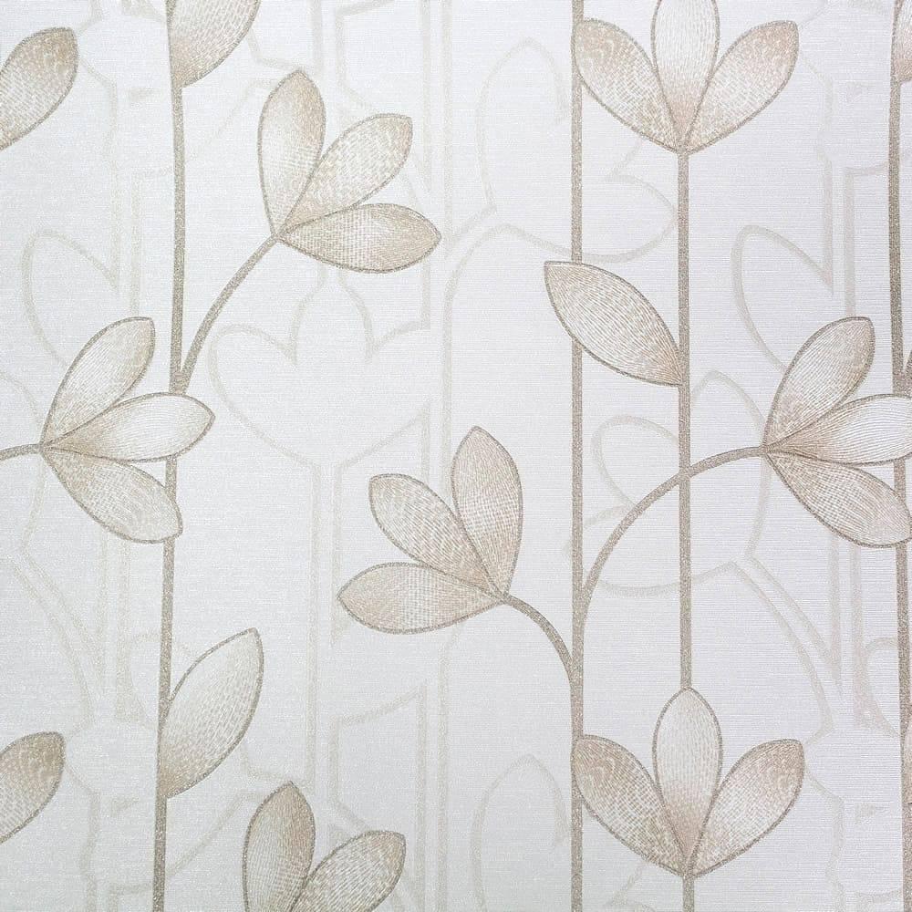 Papel de Parede Importado Vinílico Lavável Bege c/ Textura Floral Marrom Claro - 10x0,53 m