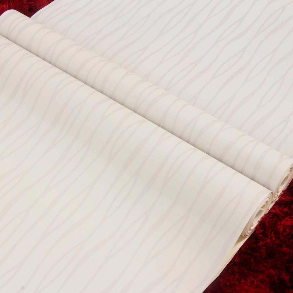 Papel de Parede Importado Vinílico Lavável Bege c/ Textura de Linhas Curvas Prata - 10x0,53 m
