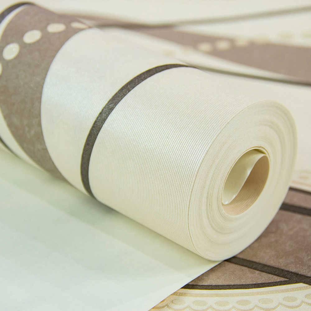 Papel de Parede Importado Vinílico Lavável Bege c/ Textura Moderna em Marrom e Preto - 10x0,53 m