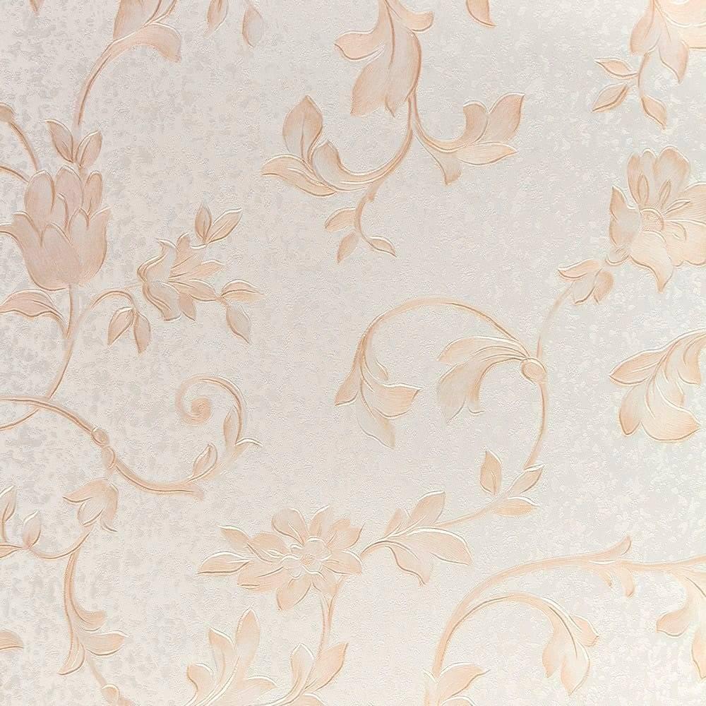Papel de Parede Importado Vinílico Lavável Bege c/ Textura de Ramos - 10x0,53 m
