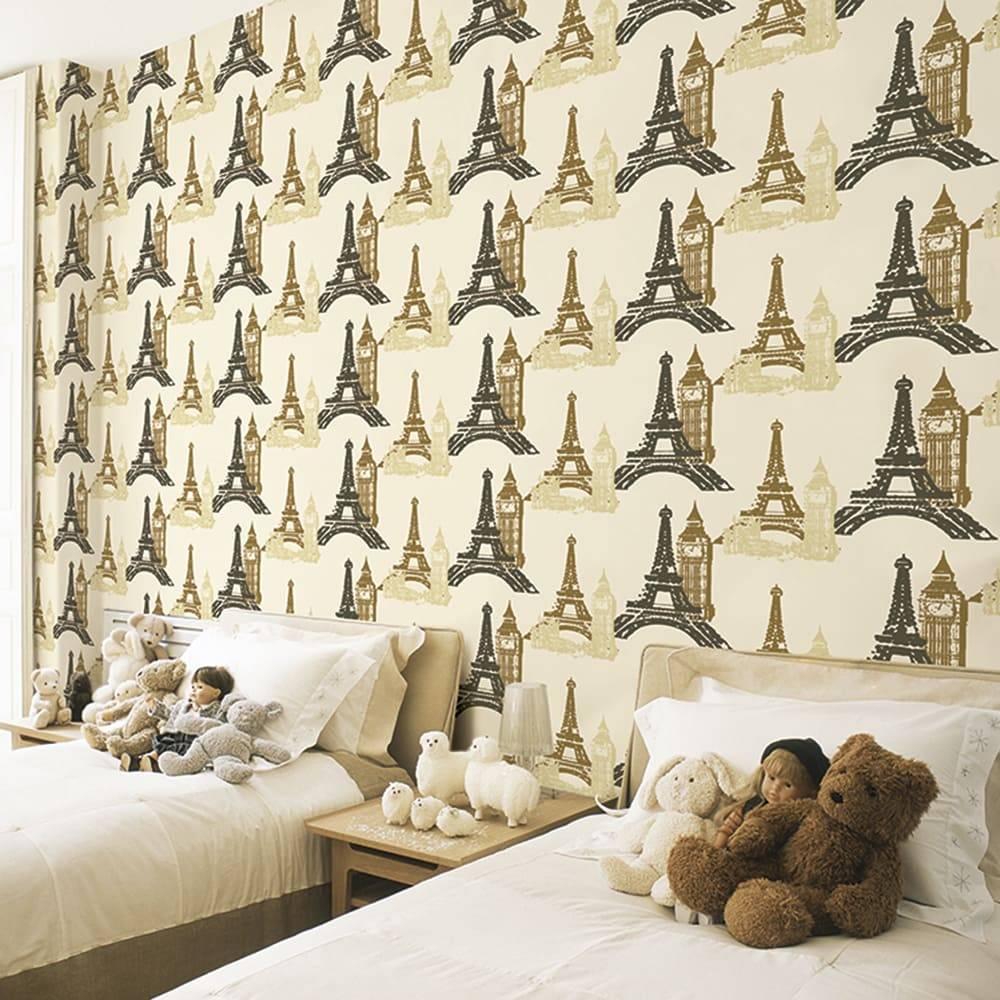 Papel de Parede Importado Vinílico Lavável Bege c/ Textura Torre Eiffel e Big Ben em Dourado e Marrom - 10x0,53 m