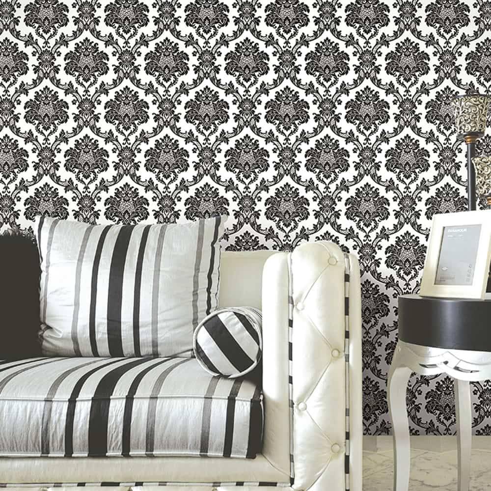 Papel de Parede Importado Vinílico Lavável Branco c/ Textura de Arabescos em Preto - 10x0,53 m