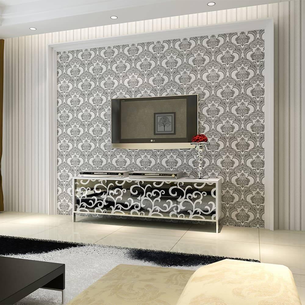 Papel de Parede Importado Vinílico Lavável Branco c/ Textura de Arabescos em Preto e Prata - 10x0,53 m
