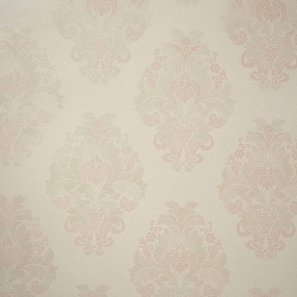 Papel de Parede Importado Vinílico Lavável Branco c/ Textura de Arabescos Rosê e Prata - 10x0,53 m