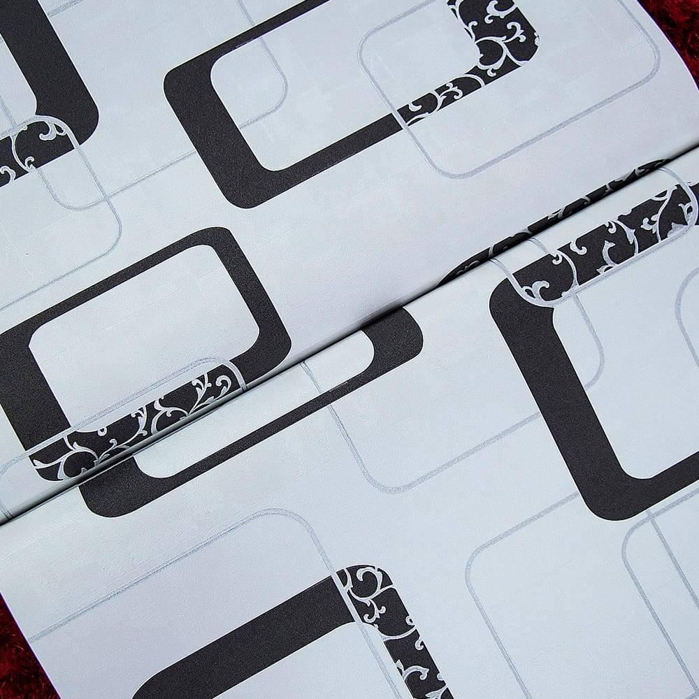 Papel de Parede Importado Vinílico Lavável Branco c/ Textura de Elos em Cinza e Preto - 10x0,53 m
