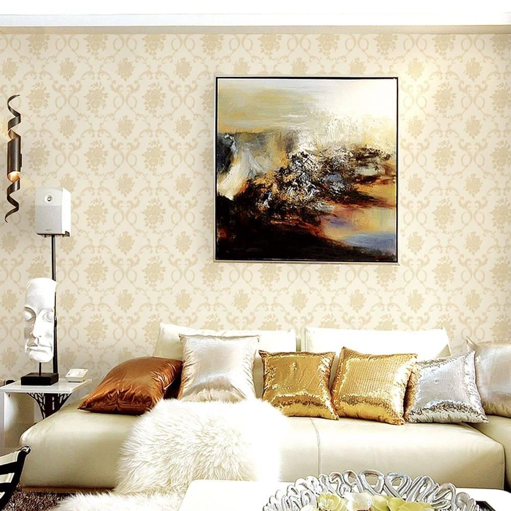 Papel de Parede Importado Vinílico Lavável Branco c/ Textura Flores e Arabescos em Bege - 10x0,53 m