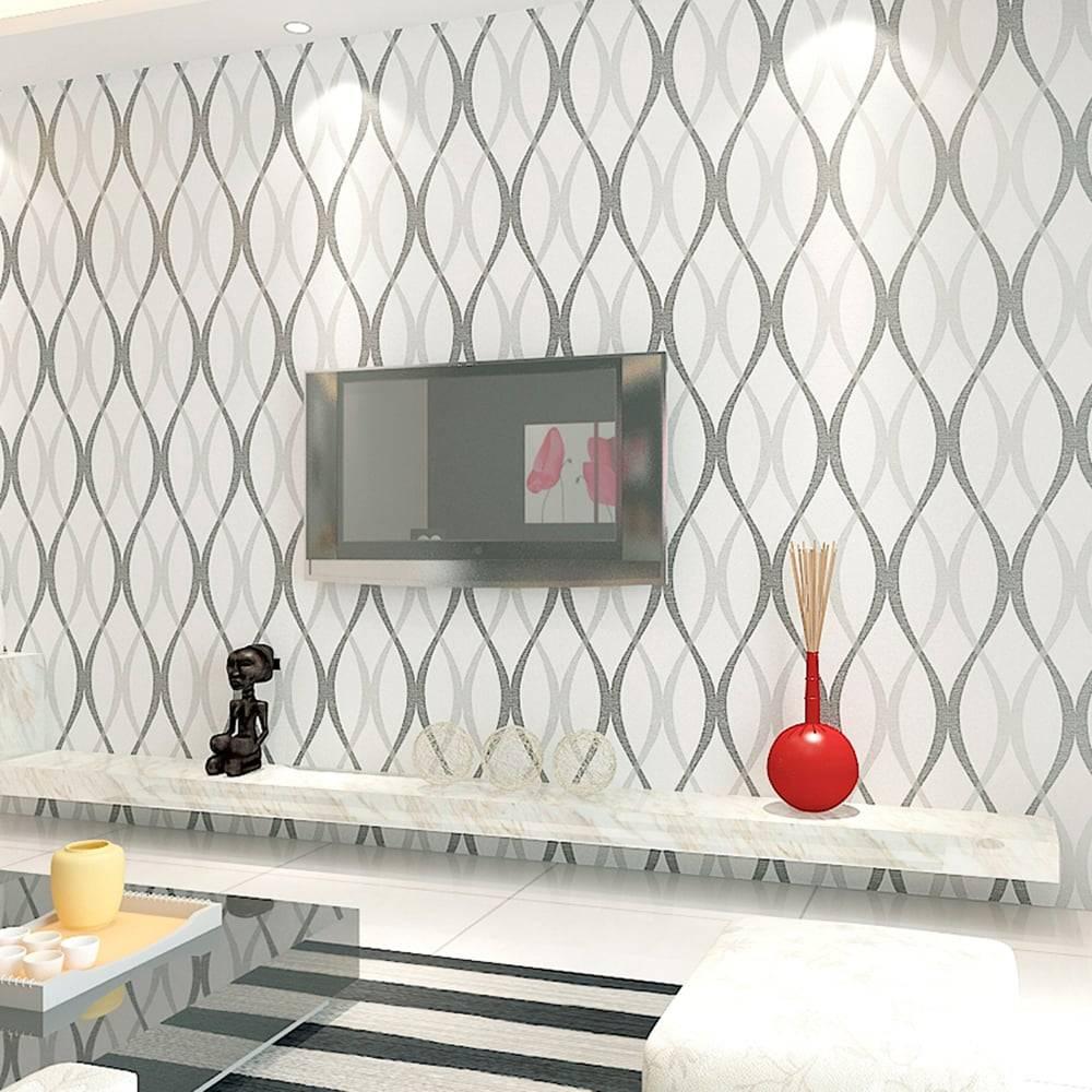 Papel de Parede Importado Vinílico Lavável Branco c/ Textura de Linhas Curvas em Prata e Preto - 10x0,53 m