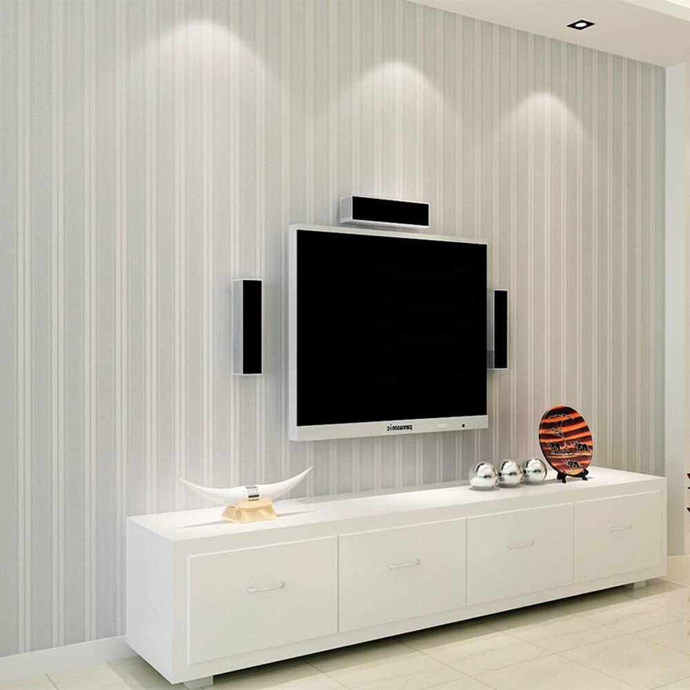 Papel de Parede Importado Vinílico Lavável Branco c/ Textura de Listras em Prata - 10x0,53 m