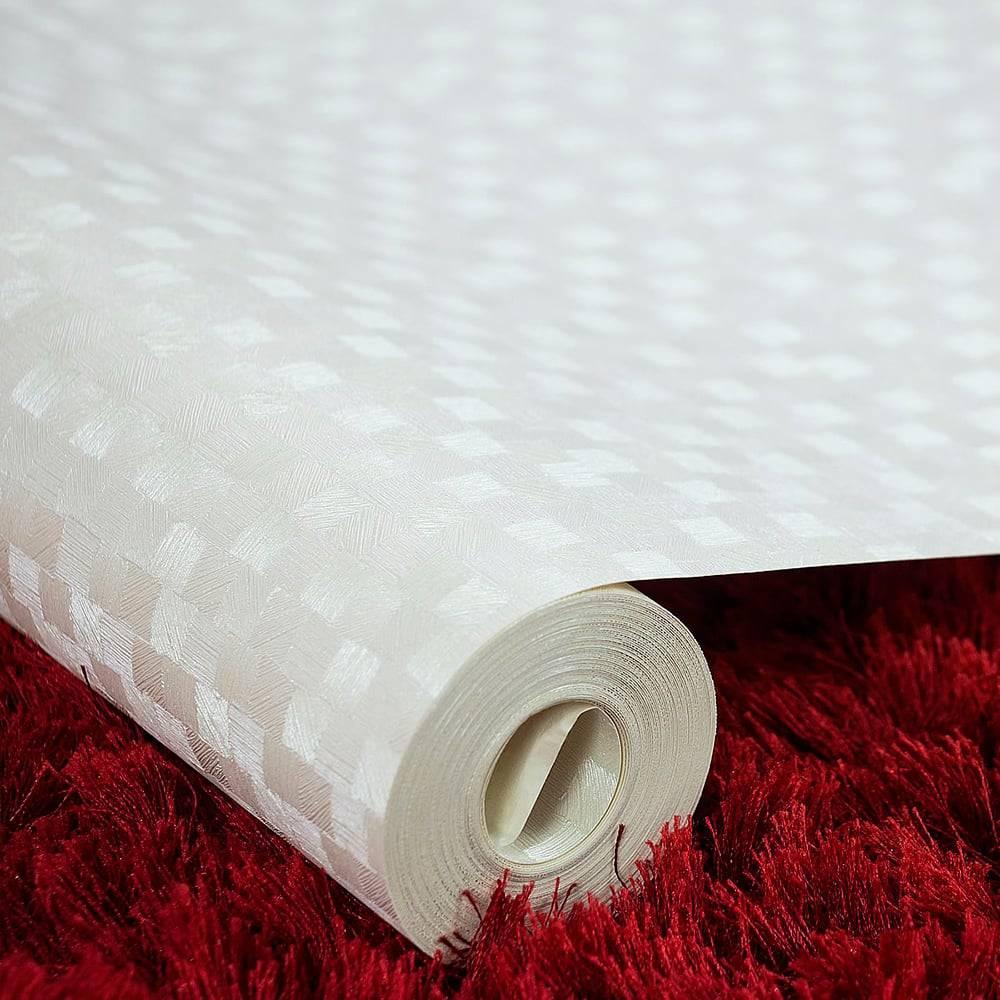 Papel de Parede Importado Vinílico Lavável Branco c/ Textura Quadriculada - 10x0,53 m