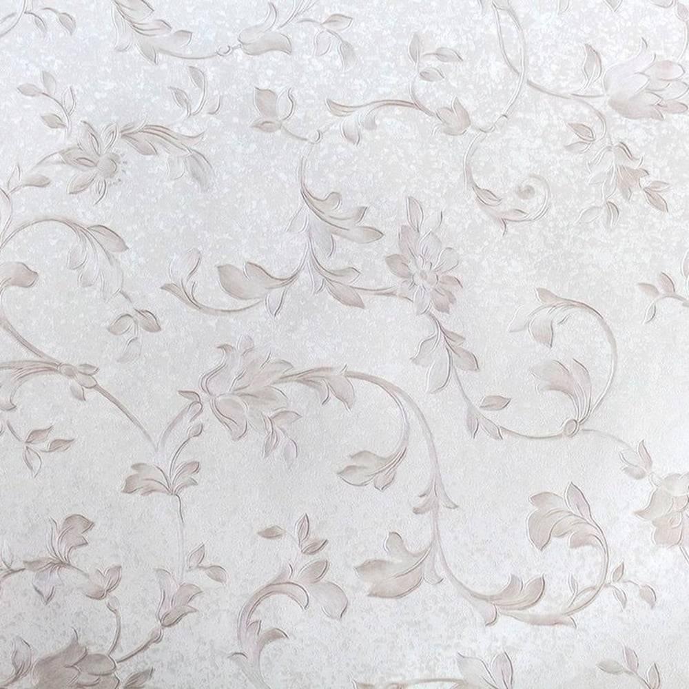 Papel de Parede Importado Vinílico Lavável Cinza c/ Textura de Ramos - 10x0,53 m