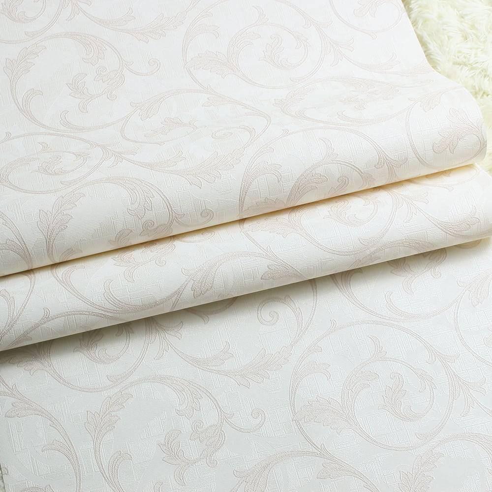 Papel de Parede Importado Vinílico Lavável Branco c/ Textura de Ramos Rosê - 10x0,53 m