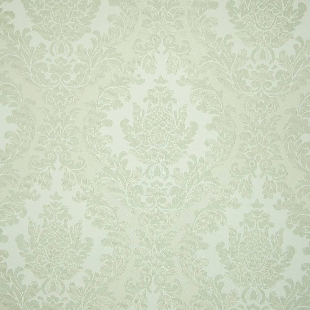 Papel de Parede Importado Vinílico Lavável c/ Textura de Arabescos em Bege e Verde - 10x0,53 m