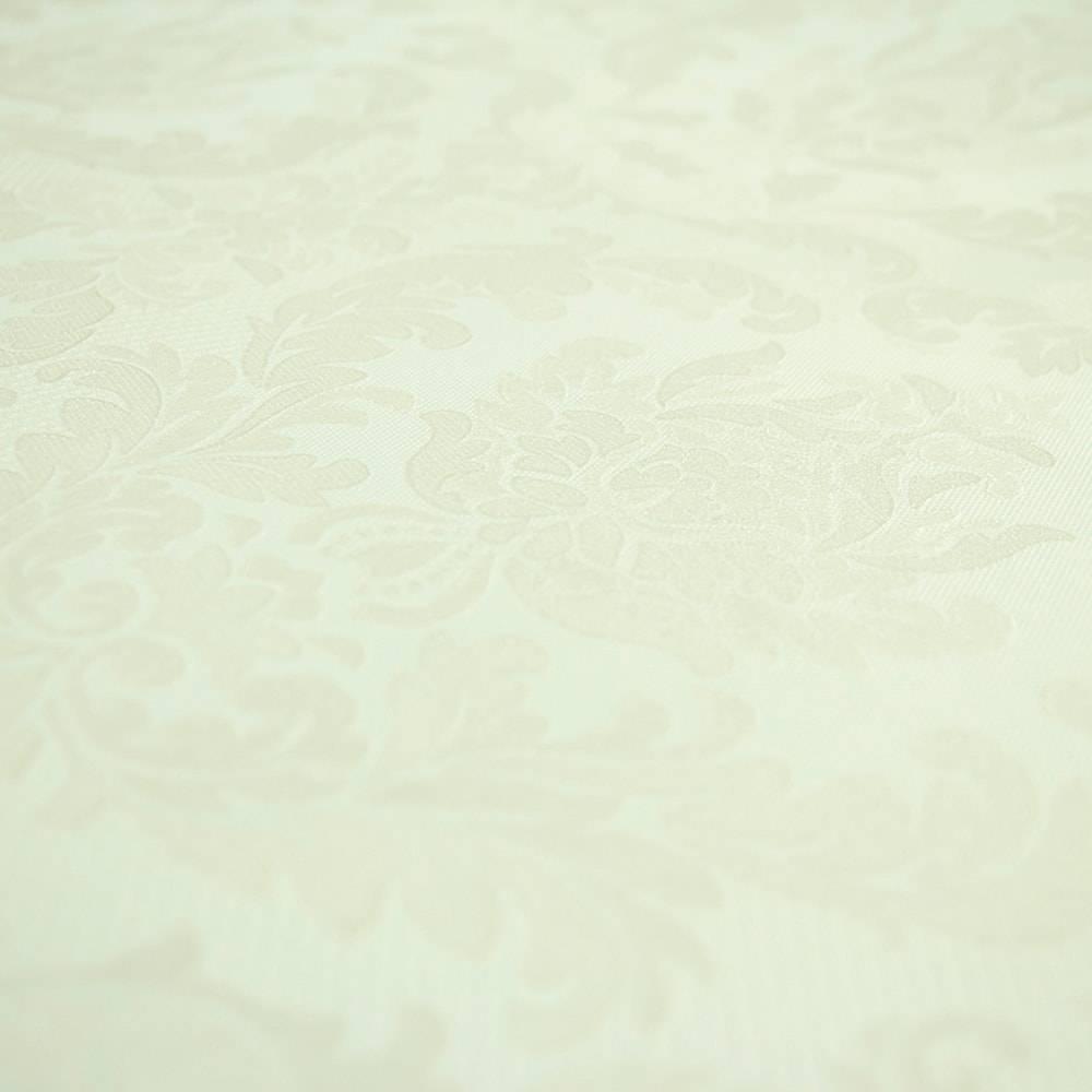 Papel de Parede Importado Vinílico Lavável c/ Textura de Arabescos em Branco Pérola Levemente Off-White - 10x0,53 m
