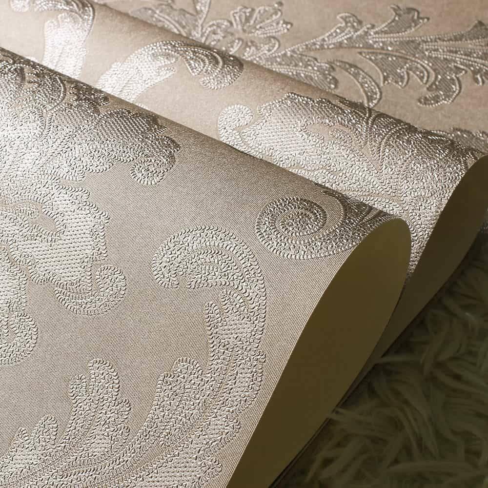 Papel de Parede Importado Vinílico Lavável c/ Textura de Arabescos em Marrom - 10x0,53 cm