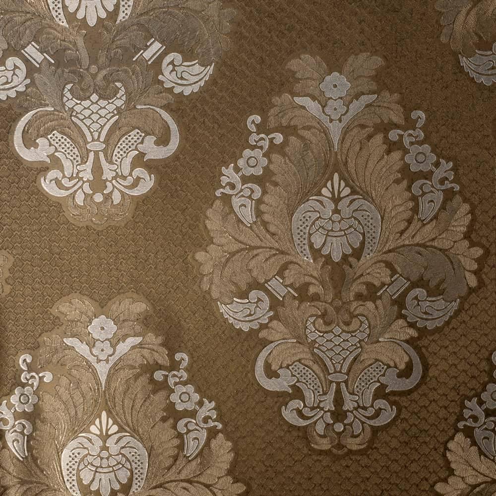 Papel de Parede Importado Vinílico Lavável c/ Textura de Arabescos Marrom e Cinza - 10x0,53 m