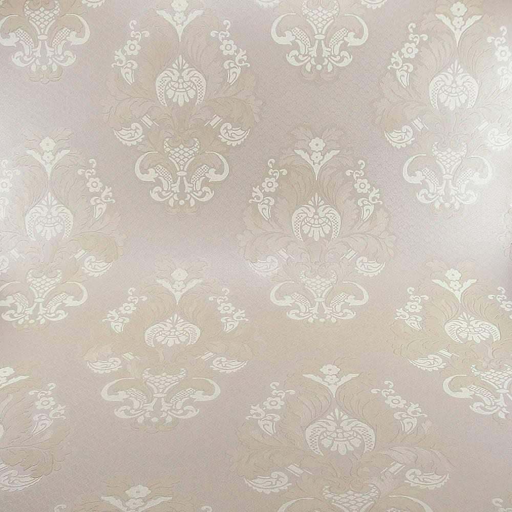 Papel de Parede Importado Vinílico Lavável c/ Textura de Arabescos Marrom Claro e Branco - 10x0,53 m