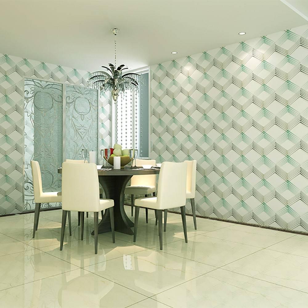 Papel de parede vin lico c textura de cubos azul e marrom - Papel de pared para pintar ...