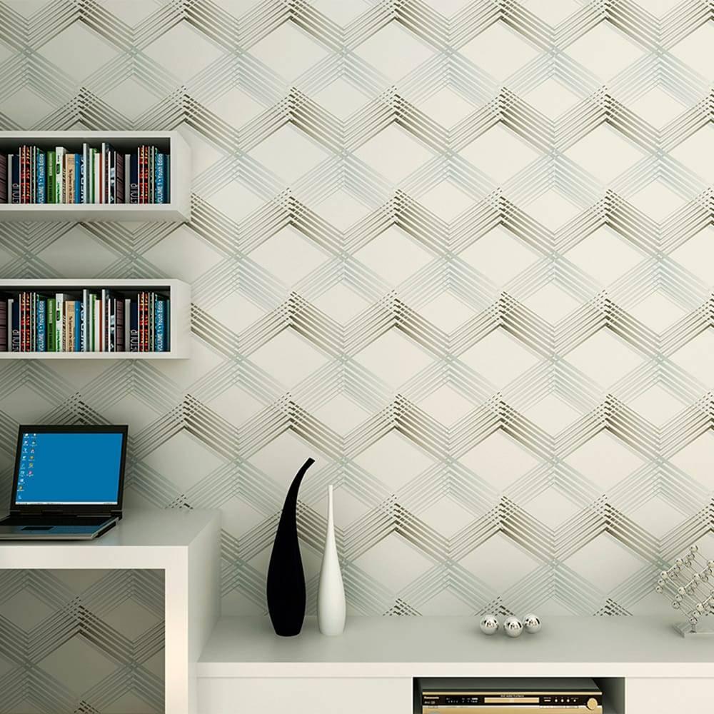 Papel de Parede Importado Vinílico Lavável c/ Textura de Cubos Branco, Cinza e Prata - 10x0,53 m