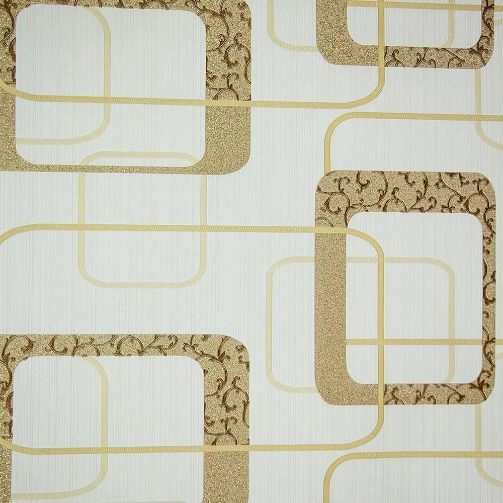 Papel de Parede Importado Vinílico Lavável c/ Textura de Elos em Bege e Dourado - 10x0,53 m