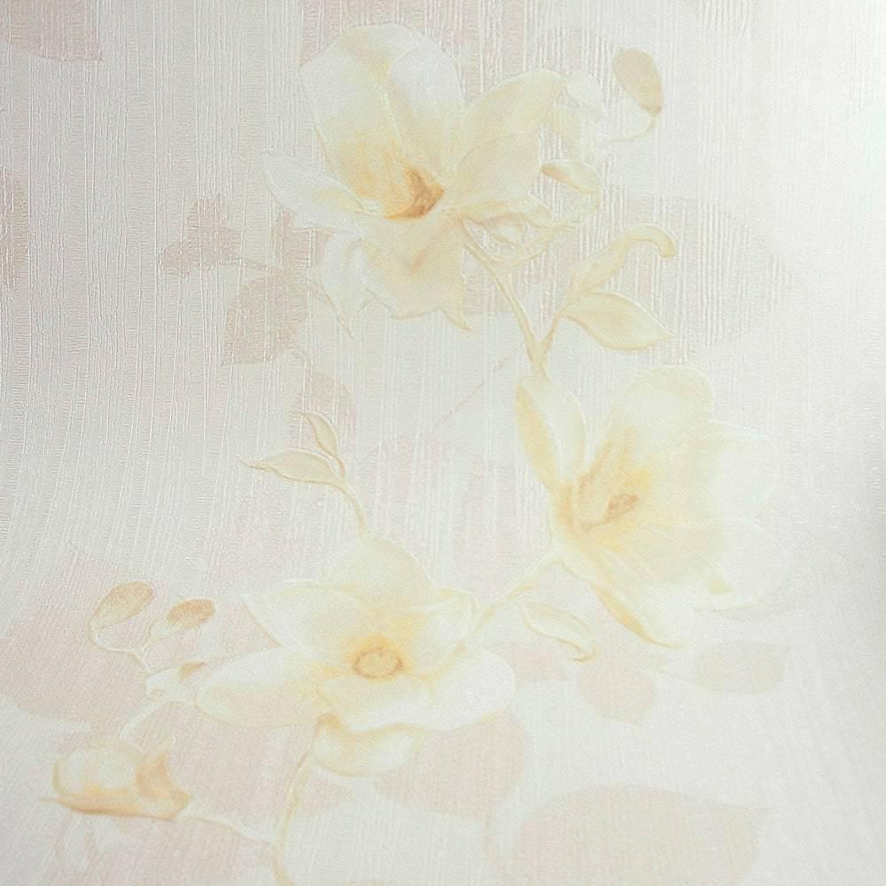 Papel de Parede Importado Vinílico Lavável c/ Textura Floral Marrom Claro e Bege - 10x0,53 m