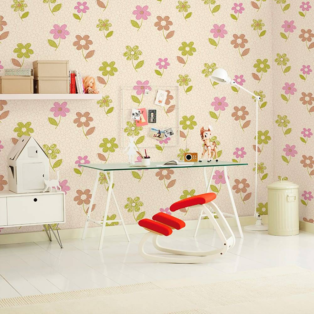 Papel de Parede Importado Vinílico Lavável c/ Textura de Flores Coloridas - 10x0,53 m