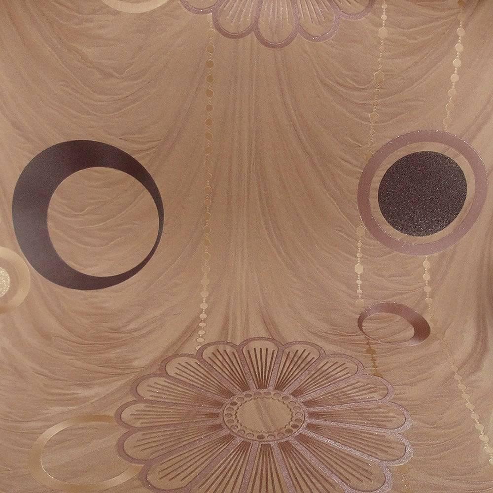 Papel de Parede Importado Vinílico Lavável c/ Textura de Flores Marrom e Dourado - 10x0,53 m