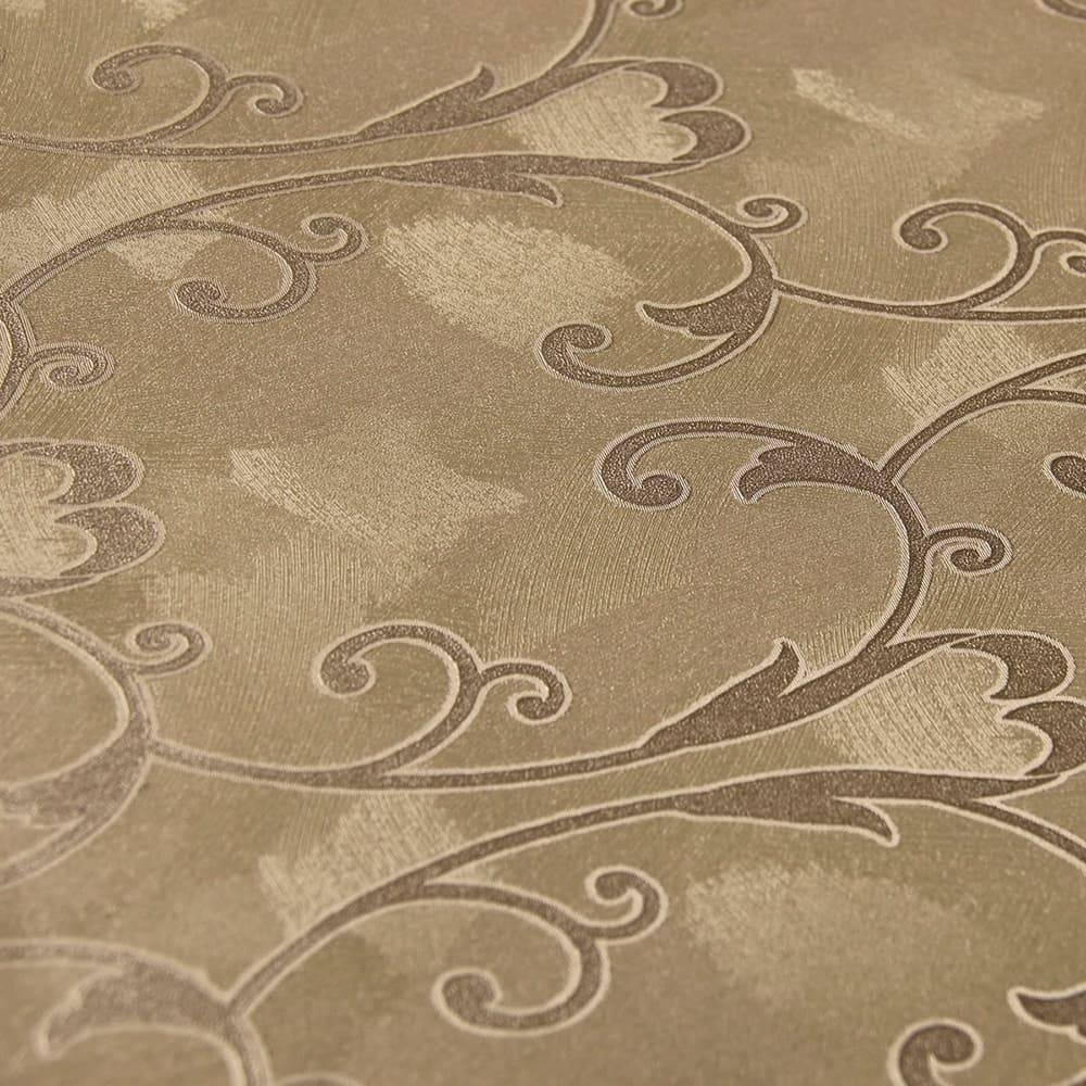 Papel de Parede Importado Vinílico Lavável c/ Textura de Flores em Tons de Marrom - 10x0,53 m