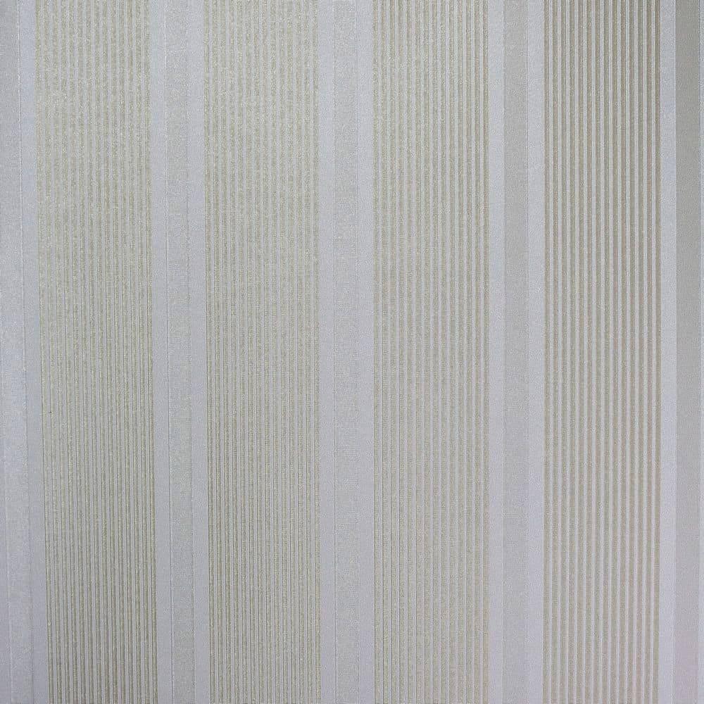 Papel de Parede Importado Vinílico Lavável c/ Textura de Listras em Marrom e Dourado - 10x0,53 m