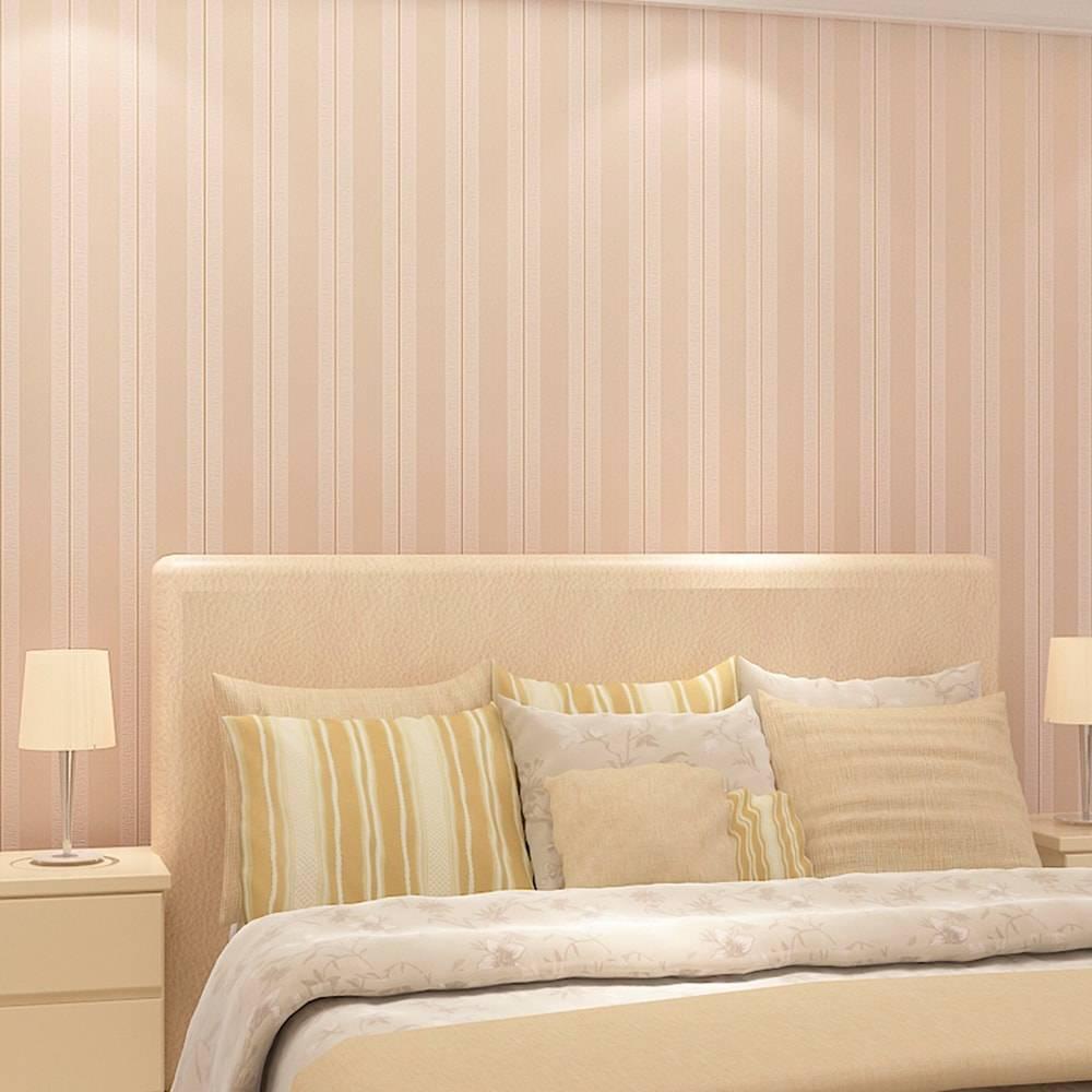 Papel de Parede Importado Vinílico Lavável c/ Textura de Listras Rosa Claro - 10x0,53 m