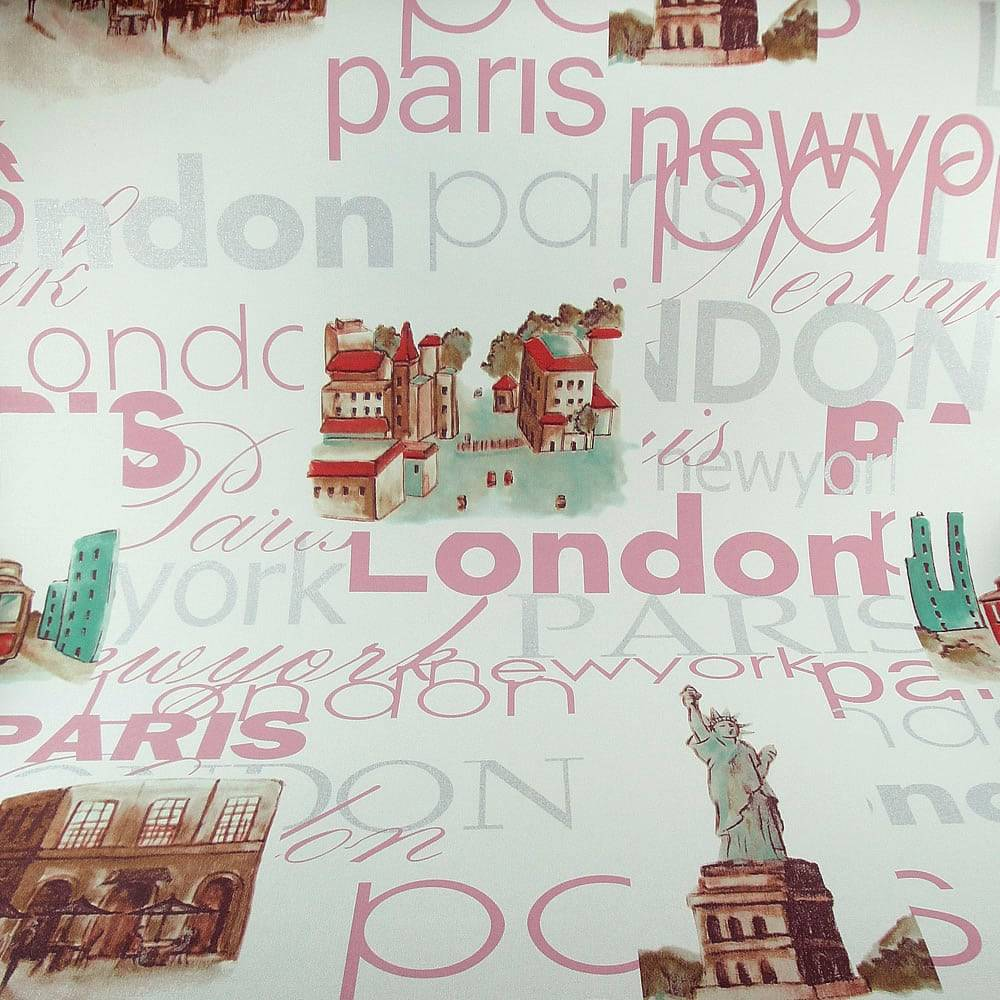 Papel de Parede Importado Vinílico Lavável c/ Textura London, Paris e New York Colorido - 10x0,53 m