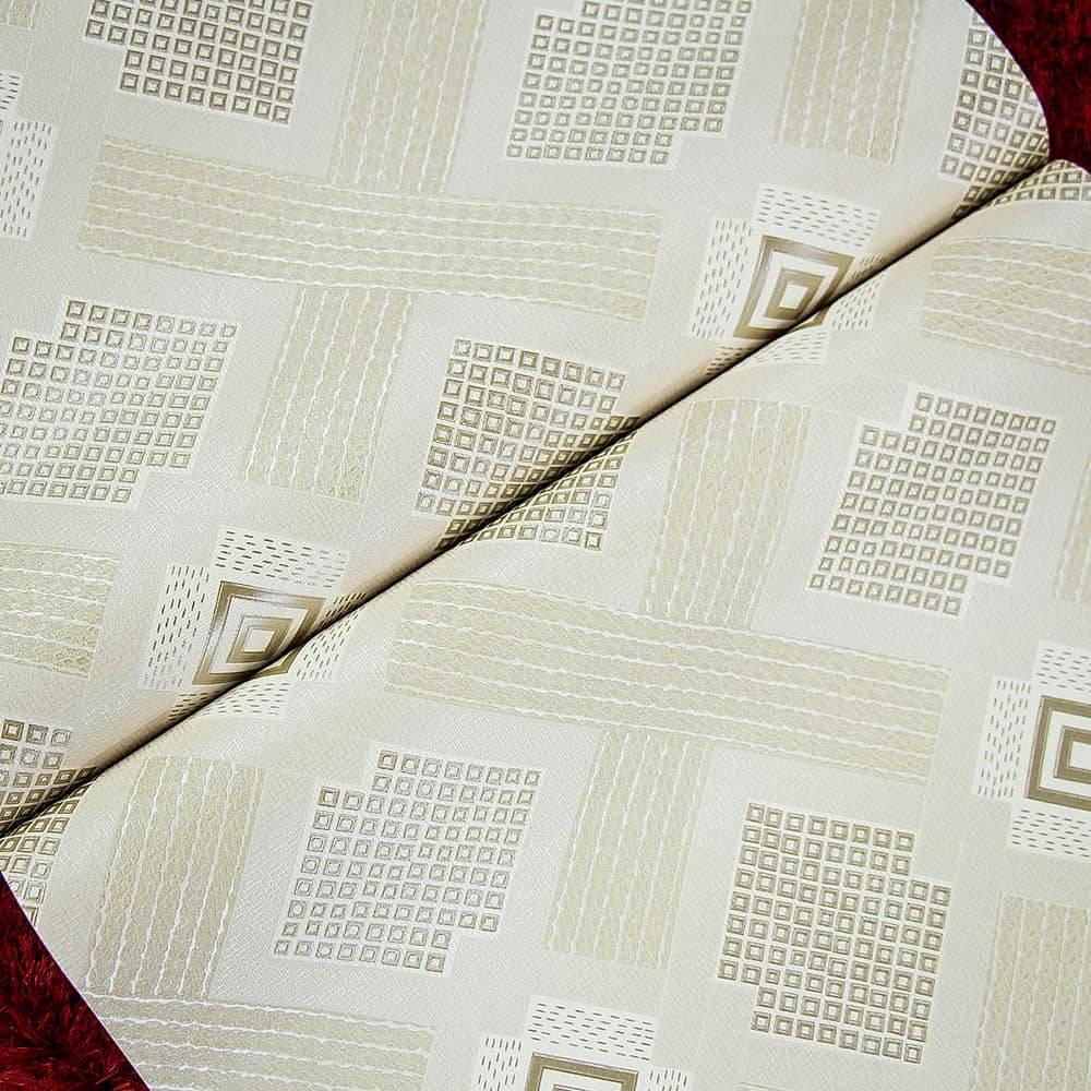 Papel de Parede Importado Vinílico Lavável c/ Textura de Losangos em Tons de Bege - 10x0,53 m