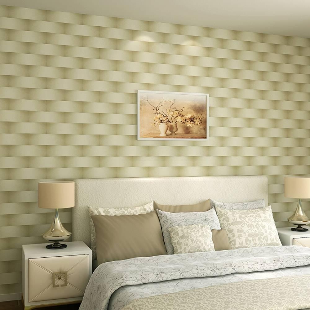 Papel de Parede Importado Vinílico Lavável c/ Textura de Tijoletas Branco, Marrom e Dourado - 10x0,53 m