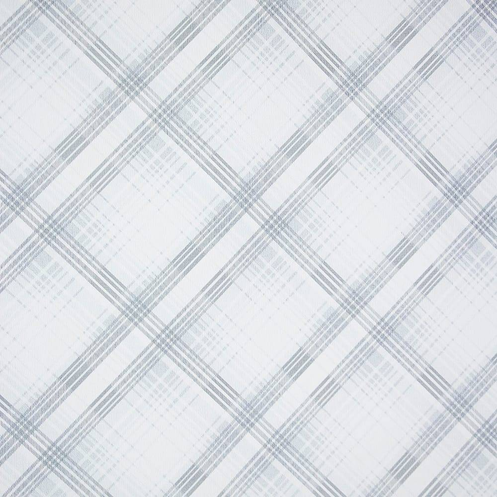 Papel de Parede Importado Vinílico Lavável c/ Textura Xadrez Branco e Cinza - 10x0,53 m