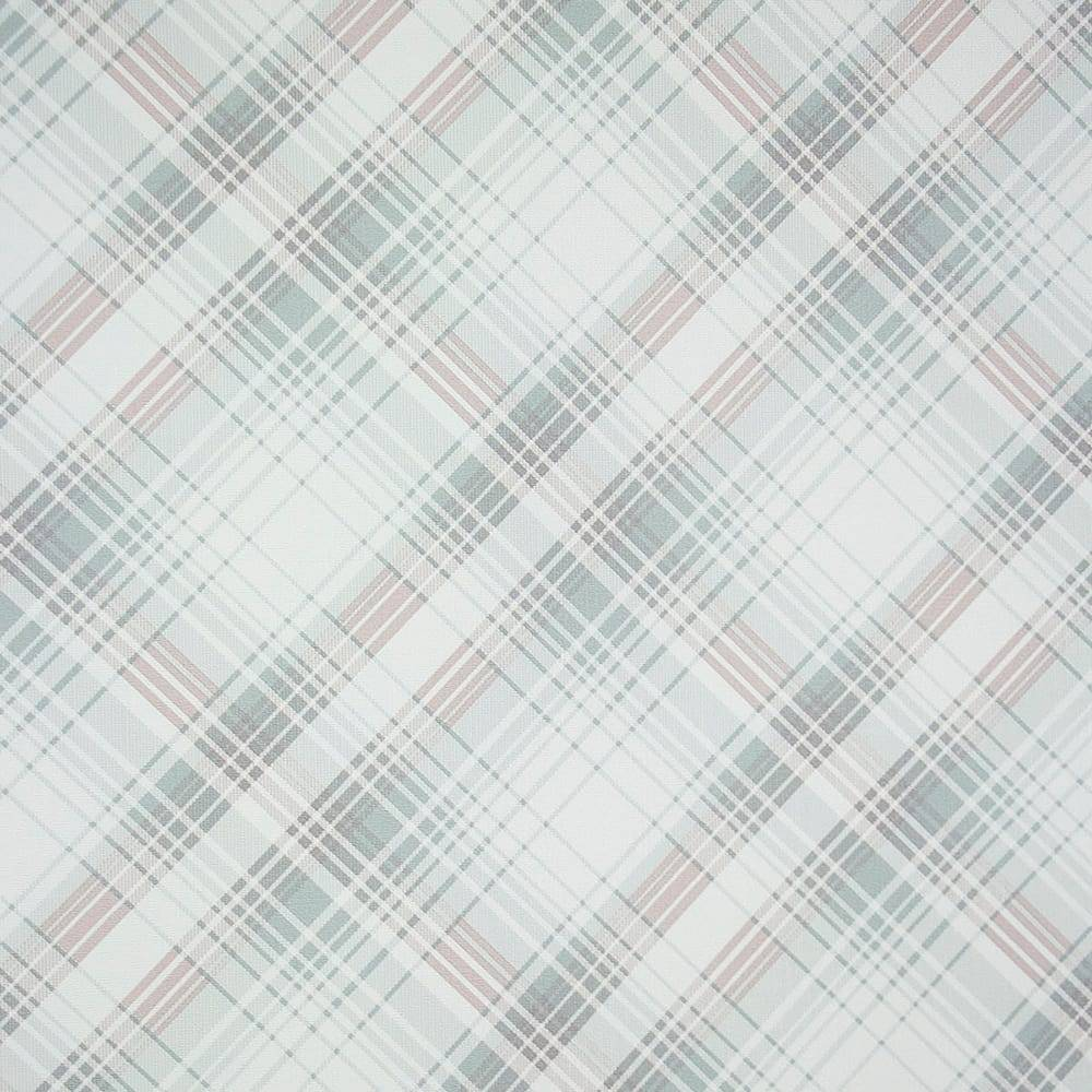 Papel de Parede Importado Vinílico Lavável c/ Textura Xadrez Levemente Rosê e Cinza - 10x0,53 m
