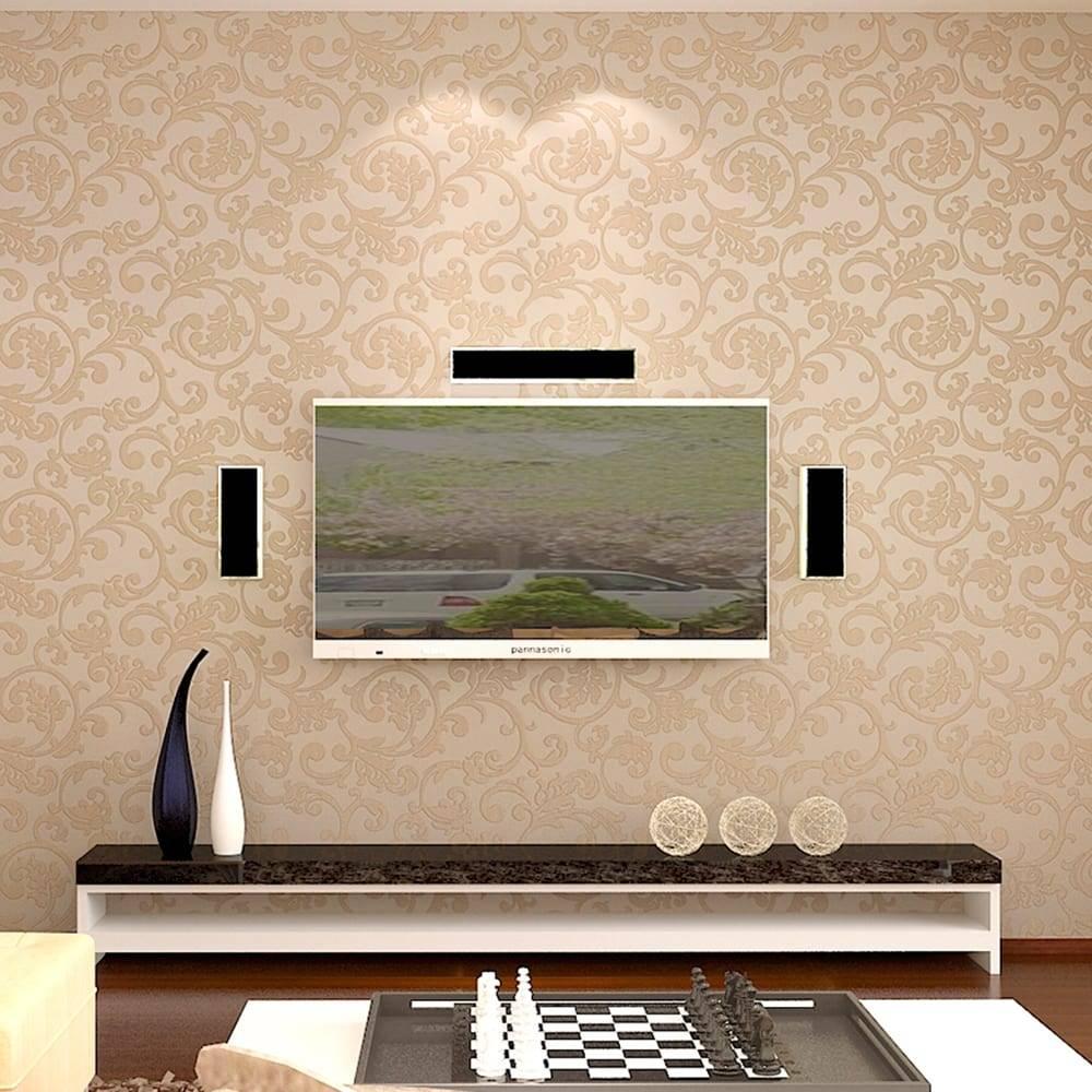 Papel de Parede Importado Vinílico Lavável Café com Leite c/ Textura de Arabescos Marrom - 10x0,53 m