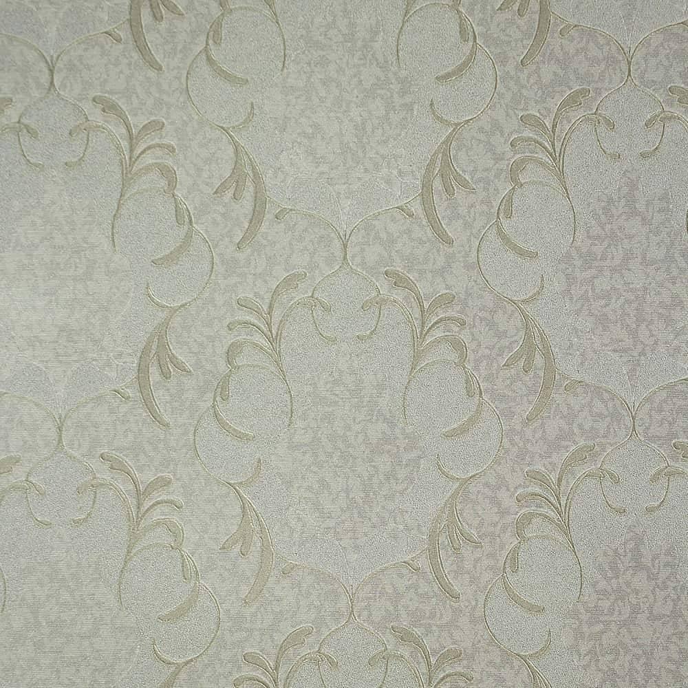 Papel de Parede Importado Vinílico Lavável Cinza c/ Textura de Arabescos Prateados - 10x0,53 m