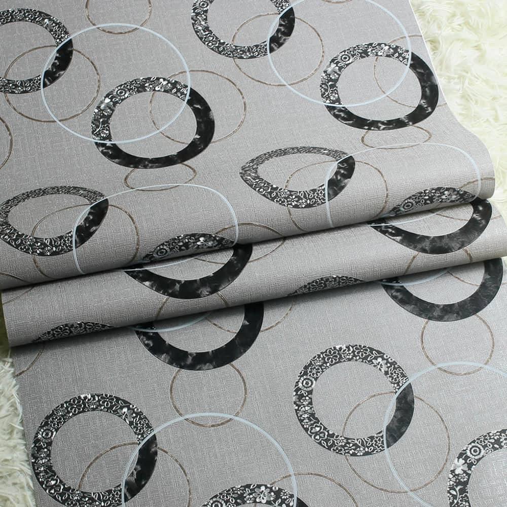 Papel de Parede Importado Vinílico Lavável Cinza c/ Textura Elo de Círculos em Preto, Prata e Dourado - 10x0,53 m