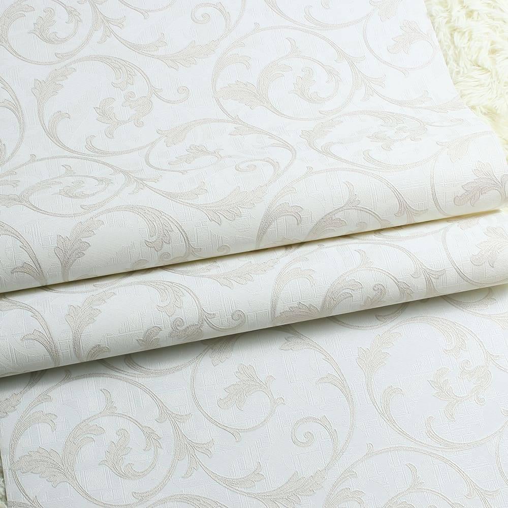 Papel de Parede Importado Vinílico Lavável Cinza Claro c/ Textura de Ramos em Prata - 10x0,53 m