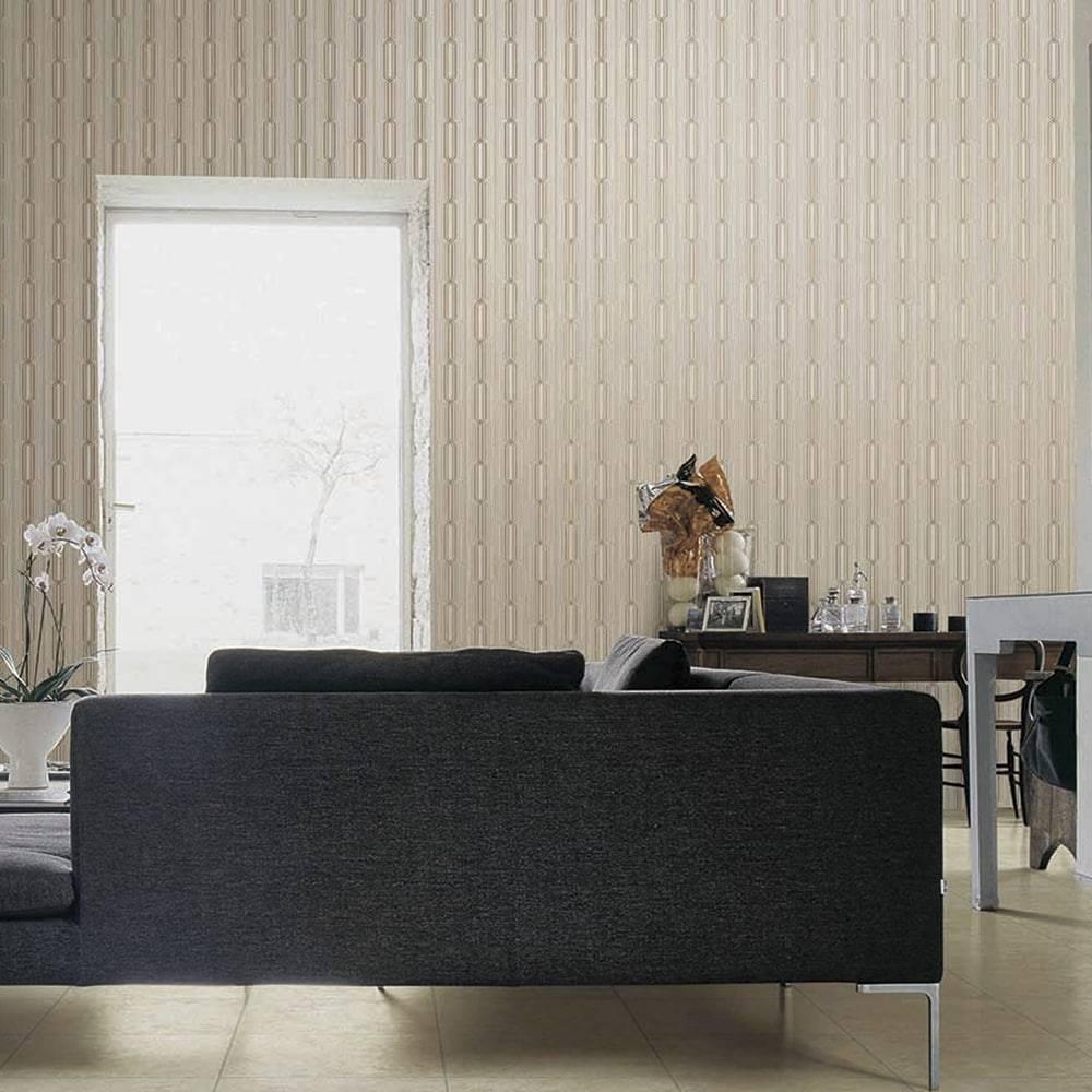 Papel de Parede Importado Vinílico Lavável  Estampa Geométrica c/ Textura Bege, Prata e Marrom - 10x0,53 m