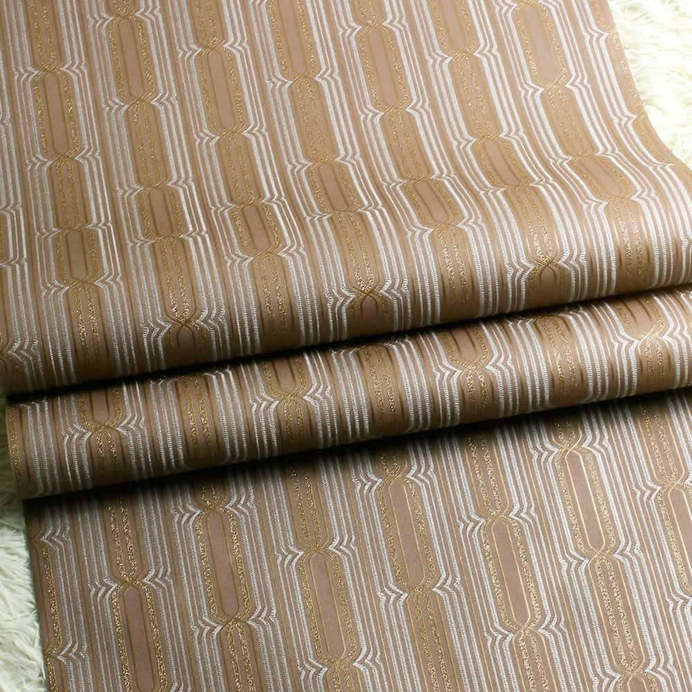 Papel de Parede Importado Vinílico Lavável Estampa Geométrica c/ Textura Marrom, Cinza e Dourado - 10x0,53 m