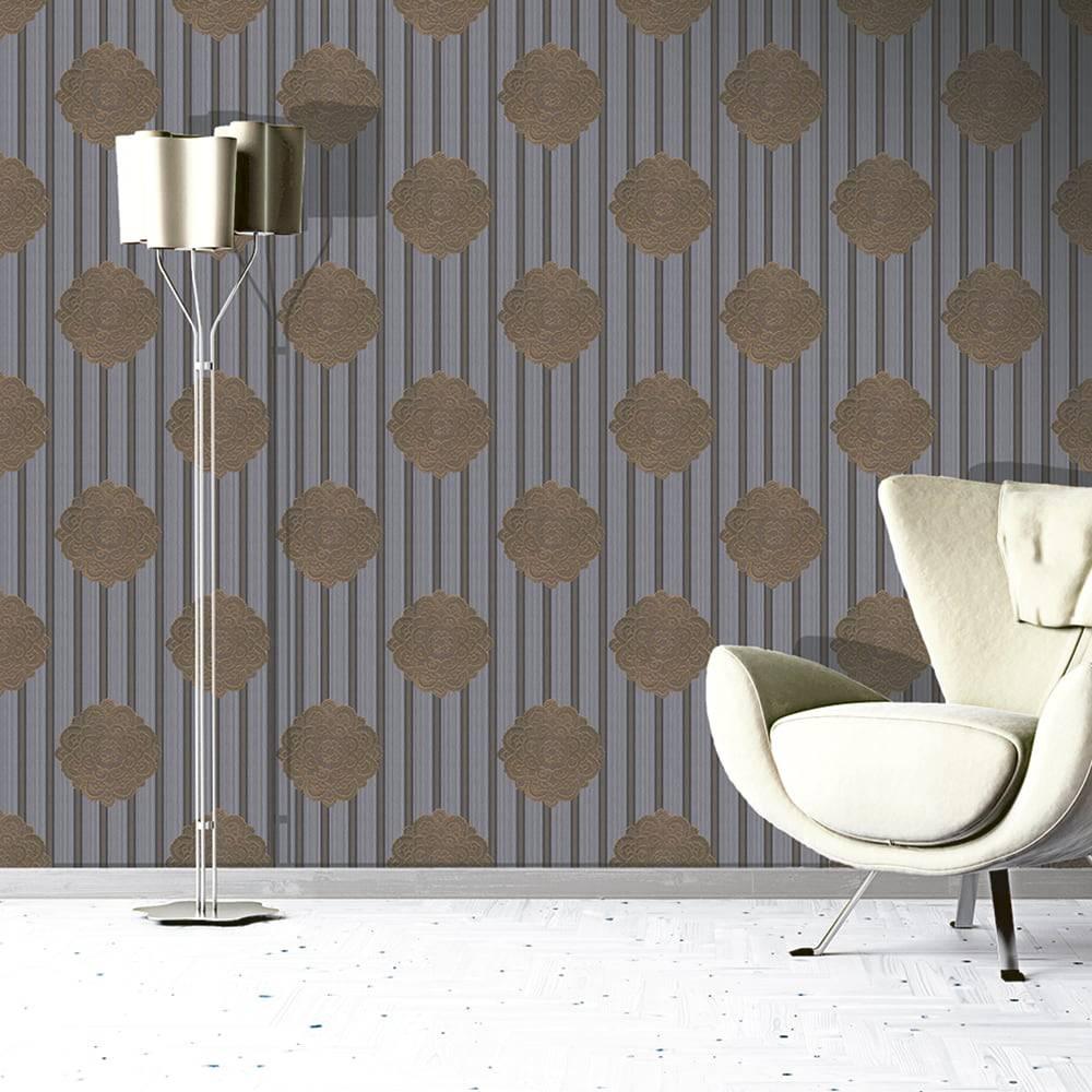 Papel de Parede Importado Vinílico Lavável Marrom c/ Textura de Listras Prata e Mandala Dourada - 10x0,53 m