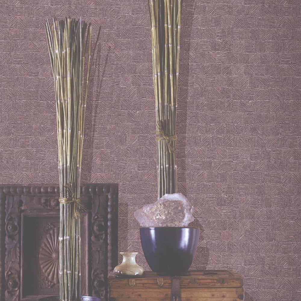 Papel de Parede Importado Vinílico Lavável Marrom c/ Textura Quadriculada - 10x0,53 m