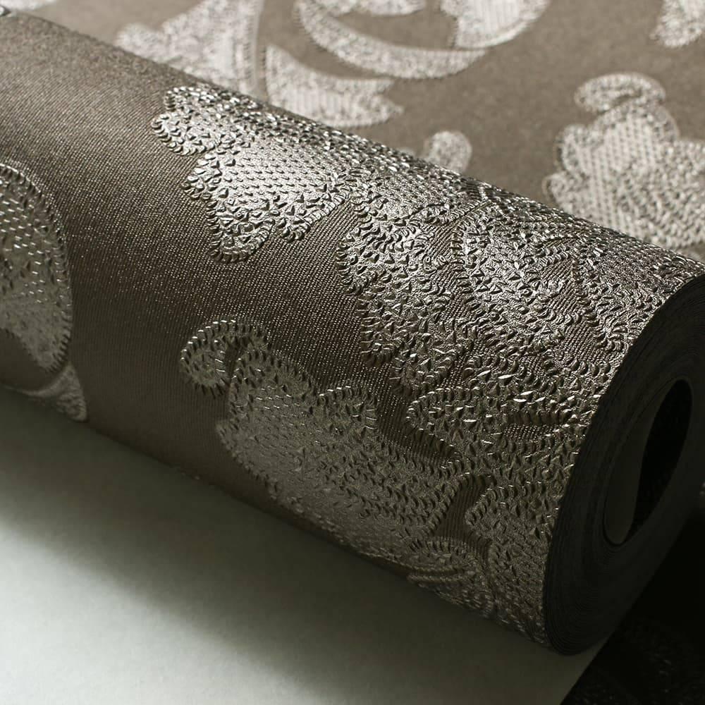 Papel de Parede Importado Vinílico Lavável Marrom c/ Texturas de Arabescos - 10x0,53 m